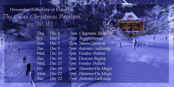 December Schedule @ Christmas Pavilion 2014